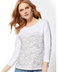 6cd2919f1b688 Lyst - New York   Company Lace Cold-shoulder Blouse in White
