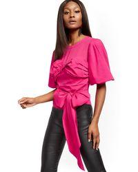 New York & Company Chiffon & Poplin Blouse - Pink