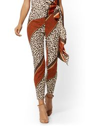 New York & Company Audrey Ankle Pant - Mixed Animal Print - Brown