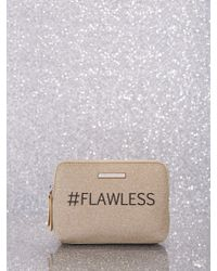 New York & Company Glitter-finish Message Cosmetic Bag - Metallic