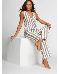 263d5e731798 New York & Company - Stripe Wrap Linen Jumpsuit -gabrielle Union Collection  - Lyst