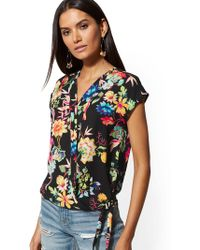 New York & Company - Bird & Floral Tie-front Wrap Blouse - Soho Soft Shirt - Lyst