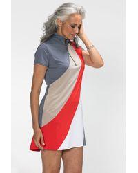 NYDJ Kinona Bold Move Short Sleeve Golf Dress Medium Gray