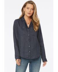 NYDJ - Blouse In Oxford Navy - Lyst