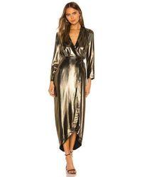 L'Agence Reliah Gold Lamé Wrap Dress - Metallic