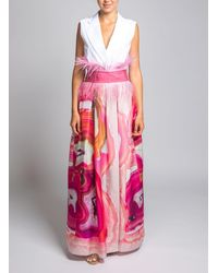 Sara Roka Geode-print Flared Dress - Pink