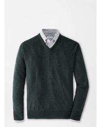 Peter Millar Crown Soft Merino-silk V-neck Sweater - Green