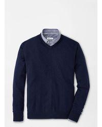 Peter Millar Crown Soft Merino-silk V-neck Sweater - Blue