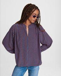 Rag & Bone Carly Printed Silk Blouse - Blue