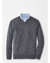 Peter Millar Crown Soft Merino-silk V-neck Sweater - Gray