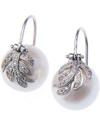 Jordan Alexander - Pearl And Diamond Leaf Earrings - Lyst