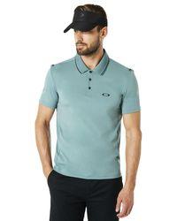 Oakley Ore Polo Shirt Short Sleeve Ribbed Detailong Sleeve - Blau
