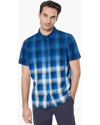 Oakley Dark Blue Gradient Check Short Sleeve Shirt - Blau