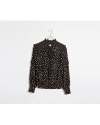 Oasis Patch Spot Pussy Bow Top - Black