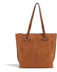 Oasis Suede And Leather Tote - Brown