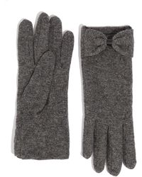 Oasis Bow Knitted Gloves - Gray