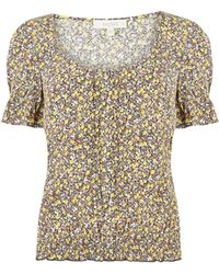 Oasis Floral Pleat Shirred Top - Multicolour