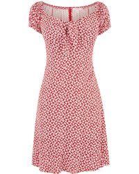 Oasis Floral Tie Skater Dress - Red