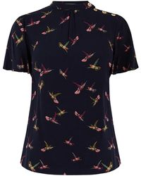 Oasis Bird Print Button Top - Blue