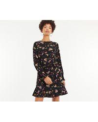 7f4a1adbb4dab6 Oasis Black Foil Spot Chiffon Blouse Dress in Black - Lyst