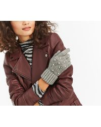 Oasis - Cable Knit Pearl Glove - Lyst