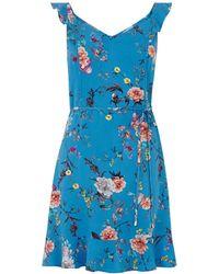 Oasis Floral Print Skater Dress - Blue