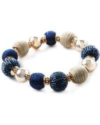 Oasis Raffia Striped Bracelet - Blue
