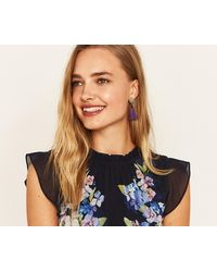 Oasis - Leaf Tassel Earrings - Lyst