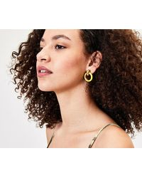 Oasis Door Knocker Earrings - Yellow