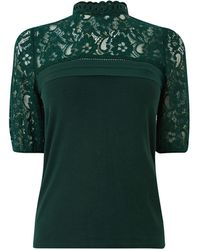 Oasis Lace Insert Pintuck Top - Green