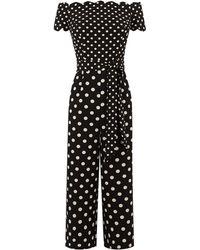 Oasis Spot Patched Jumpsuit - Black