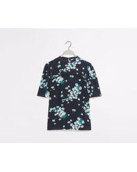 Oasis Floral Lace Trim Top - Blue