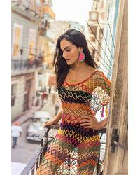 Anna Kosturova Aztec Mesh Dress - Multicolor