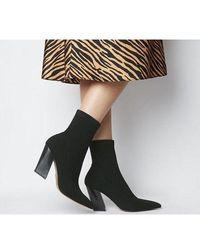 Office Aniseed- Angled Heel Sock Boot - Black