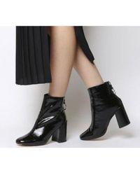 Office Argon- Block Heel Back Zip - Black