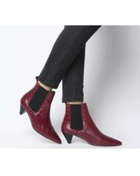 Office Arty - Cone Heel Chelsea Boot - Red