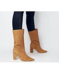 Office Karma- Calf Block Heel Boot - Brown
