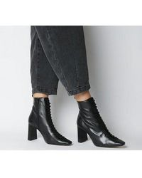 Office Affection- Block Heel Lace Up Boot - Black