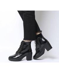Office Absolutely- Lace Up Cleated Boot - Black