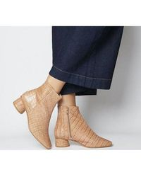 Office Almond- Low Block Heel Boot - Blue