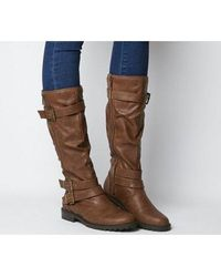 Office Kirsty- Flat Buckle Knee Boot - Brown