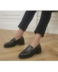 Office Madmen Heeled Loafers With Buckle - Black