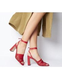 Office - Macaroon Multi Skinny Strap Ankle Tie Block Heel - Lyst