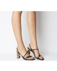 Office Mocktail- Strappy Feature Heel Sandal - Black
