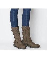 Office Kim- Flat Calf Biker Boot - Brown