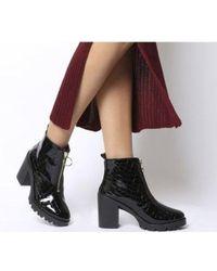 Office Aida- Chunky Heel Front Zip - Black