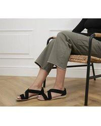Office Hallie Cross Strap Espadrilles Sandals - Black