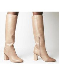 Office Kingdom Block Heel Knee Boots - Natural