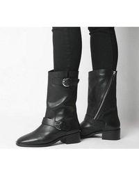 Office Kick- Calf Biker Boot - Black