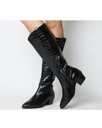 Office Kountry- Casual Western Knee Boot - Black